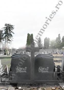 monument funerar dublu cu cruce valuri