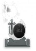Cruce funerara oglinda din granit gri inchis cu placa neagra