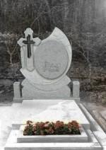 Cruce funerara oglinda din granit gri deschis