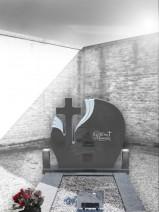 Cruce funerara simpla floare granit rotunda
