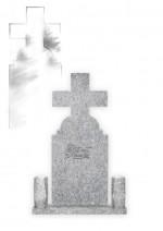Monument funerar ortodox simplu din granit gri deschis