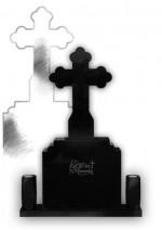 Monument funerar clasic cu cruce trifoi Negru
